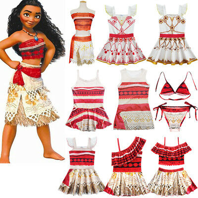 Kids Moana Hawaiian Princess Girls Party Cosplay Fancy Dress Costume Swimwear US