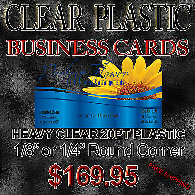 1000 Full Color -  Thick 20pt CLEAR Plastic Business Cards - 500 LPI Resolution
