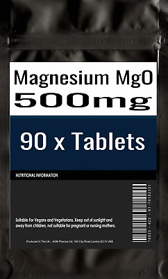 90 of Magnesium Tablets MgO 500mg Elemental Magnesium 300mg Fatigue Muscles