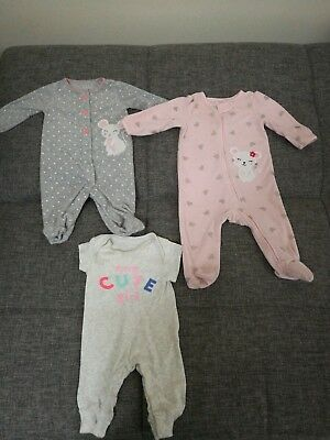 3 Months Carters Baby Girl Lot Sleepers Feet Pajamas Fall Winter Bodysuit PJ Set