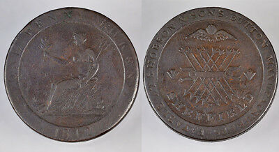 1812 England Sheffield S. Hobson & Sons, Button Manufacturers Ae.penny Token !!!