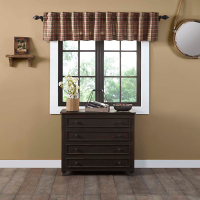 Crosswoods Tan/Red Plaid Cotton Country Cottage Lined Window Valance