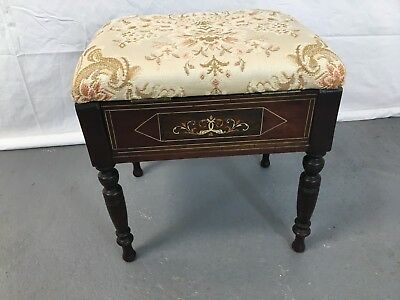 Antique inlaid ottoman piano stool on turned legs #1874