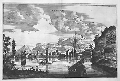1668 Nanchang Jiangxi China Asien view Ansicht Kupferstich antique print Nieuhof