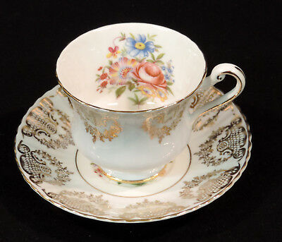 Paragon bc cup/saucer gold design pink blue & yellow flowers gold trim England