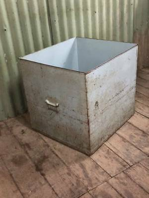 A Large Vintage Metal Tin Box with Handles - Great Fire Box