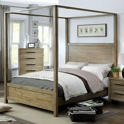 Contemporary Light Oak Finish Queen Size Canopy Bed Bedroom Furniture 1pc