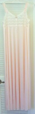 "Vintage 1980's Peach Nylon w White Lace Bib ADONNA Nightgown w 120"" Sweep S/M"