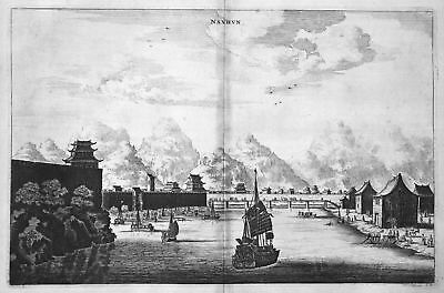 1668 Namhun Nam Hung China Schiff ship Kupferstich antique print Nieuhof