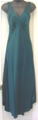 Vintage 100% Teal Green Silk Long VICTORIA'S SECRET Criss Cross Back Nightgown M