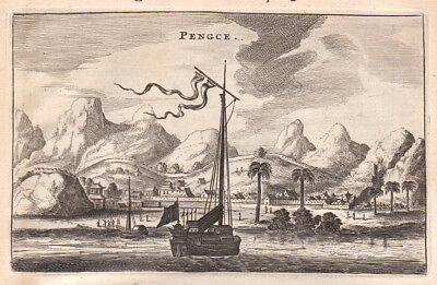 1668 Pengce Asia China Schiff ship Kupferstich antique print Nieuhof