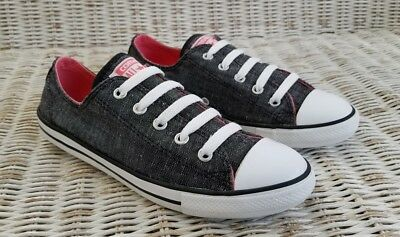 1ec852ee831d77 CONVERSE CHUCK TAYLOR ALL STAR DAINTY OX SNEAKERS Wo s Size 6 Black Denim  Pink