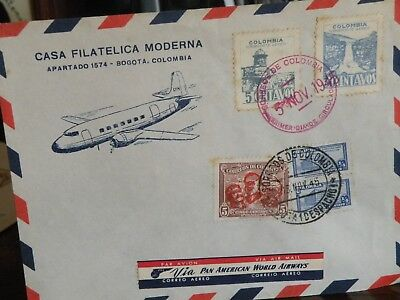 Colombia stamps FDC 1945 via Pan Am Airways tourism airline history