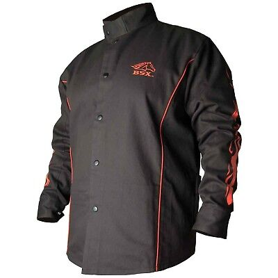 BSX Flame-Resistant Welding Jacket - Black with Red Flames, Size 2X-Large