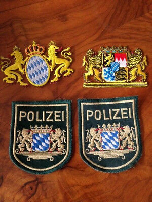 German Bavarian embroidered fabric badges, x 4, new