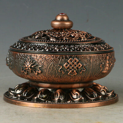 China Copper Incense Burner Carved The Eight Auspicious Symbols Pattern RJL008+2