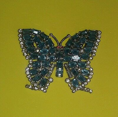 Vintage Art Deco Era 40's Pin Butterfly Rhinestone RARE Brooch Spring Wedding
