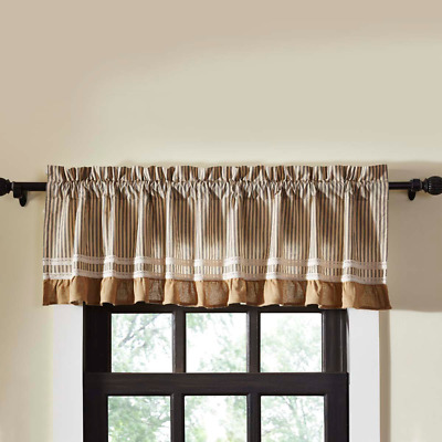 Kendra Black Ticking Stripe Cotton Country Cottage Lined Window Valance