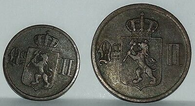 1 Ore - 1891 and 2 Ore - 1876 coins from Norway