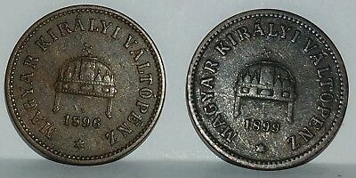 Two 2 Filler Coins from Hungary 1896 and 1899