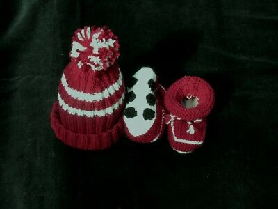 HAND KNITTED MANLY SEA EAGLES FOOTY BABY BEANIE & BOOTIES SET 0-3 mths