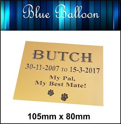 Weatherproof Personalised Memorial Plaque- Pet, Cat, Dog - - Engraved.