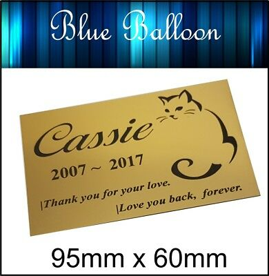 Pet Cat Memorial Plaque 95mm x 60mm Engraved. Personalised