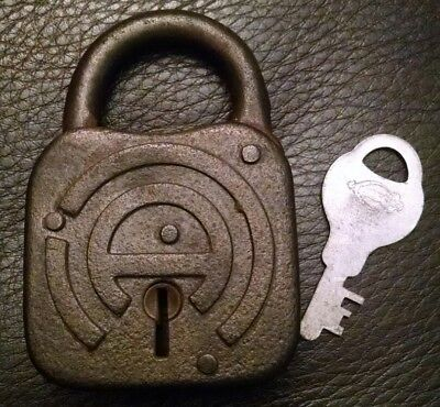 "Rare Antique Vintage Steel Design ""A"" Fraim Padlock With Working Key Made In Usa"