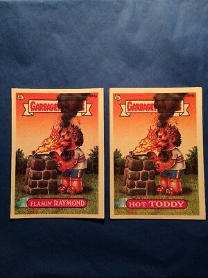 Garbage Pail Kids Hot Toddy Flamin Raymond 384a & 384b white box error
