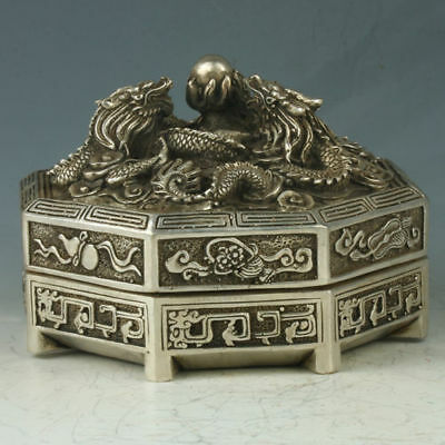 China Silver Copper Octagon Incense Burner Carved Dragon W Mark QianLong RT0012