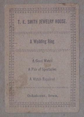 Vintage Victorian Trade Card Oskaloosa Iowa, Drug Store, Jewelry, Early 1900's