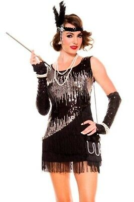Flapper 1920s Womens Fancy Sequin Fringe Dress Gatsby Party Costume Outfit