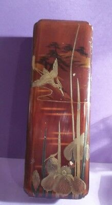 antique ORIENTAL LACQUER WOOD BOX old EXOTIC BIRDS deco CHINOISERIE VANITY CASE