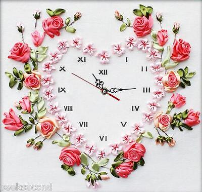 Ribbon Embroidery Kit Flowers Love Clock Face With Clock Movement RE3060
