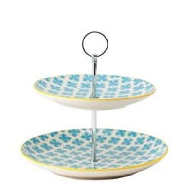 NEW 2-Tier General Eclectic Cake Stand - blue yellow floral (daisy dora)