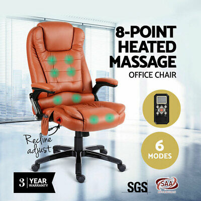 8 Point Massage Chair Executive Office Computer Heated PU Leather Amber AU POST