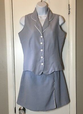 Vintage Especially Yours Womens 2 Piece Set Outfit Top & Skort Size 5/6 Blue