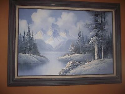 Large Vintage Oil Painting Of Snowy Mountain Landscape By S. Hills