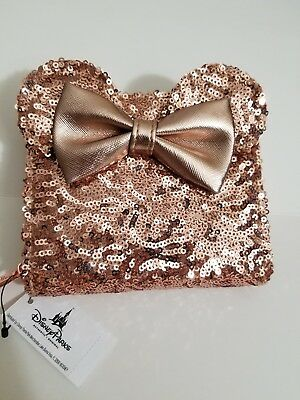 NEW Disney Rose Gold Sequin Minnie Ears Wallet NWT Loungefly Disneyland