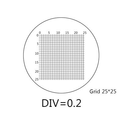DIV 0.2 mm Eyepiece Micrometer for Microscope Ocular Graticule 25x25 Gride Stage
