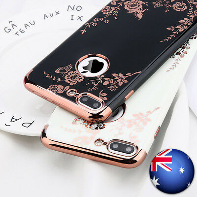 For iPhone 6s 7 7 Plus X Shockproof Plating Floral Slim Hybrid Bumper Case Cover