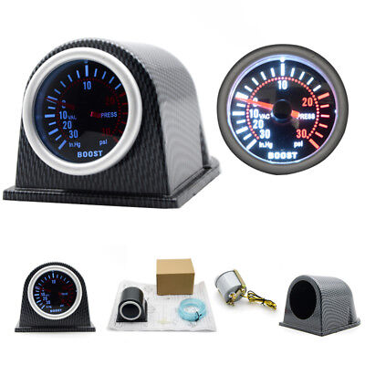 2''/52mm Universal Car LED Turbo Boost Gauge Meter Pointer 0-30 PSI With Pod