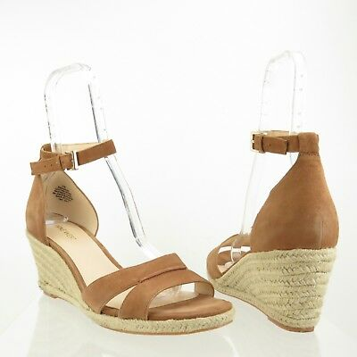 5ba4b405ac5 Women s Nine West Jabrina Shoes Brown Suede Espadrille Wedge Sandals Size  11 M