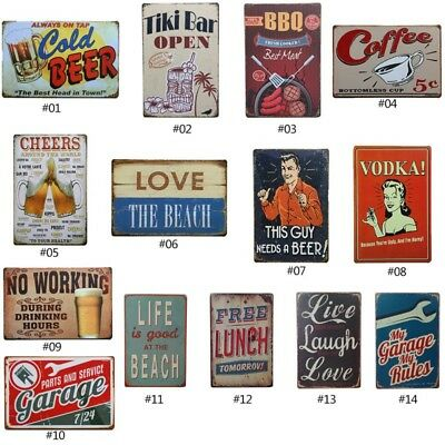 Vintage Tin Sign Garage Beer Bar Pub Home Wall Decor Retro Metal Art Poster US