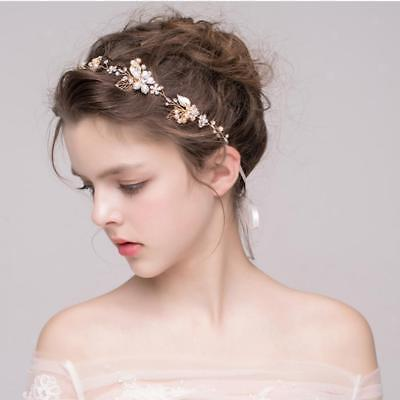 Princess Wedding Bridal Party Pearl Crystal Leaf Hair Band Headband Tiara