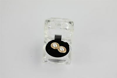 Pair of Vintage Chunky Large 9ct Gold & Pearl Stud Earrings in Box 1.2g