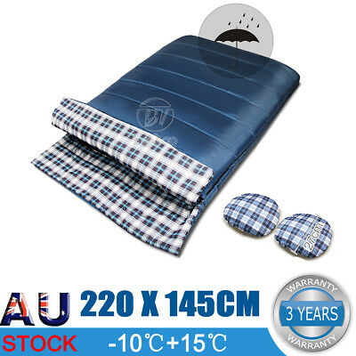 Double Outdoor Camping Envelope Twin Sleeping Bag Thermal Hiking Winter -10°C AU