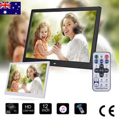 """New 12"""" HD 1080P LED Digital Photo Picture Frame Movie Player Remote Control AU"""