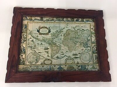 Vintage Wooden Framed Large World Map Unusual Collectible Item