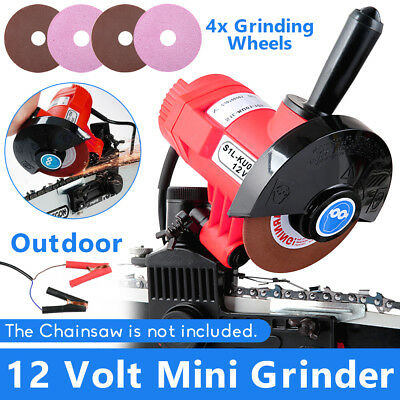 12V CHAINSAW SHARPENER Chain Bar Mounted Electric Grinder 4X Grinding Wheels AU
